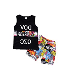 Kids Cotton Tank Top Undershirts Elastic Soft Comfort Children Summer Sleeveless Breathable Tank Top Short Set Letter Print Top Kid's Clothes T-Shirts for Age 0-3 for Boys or Girls