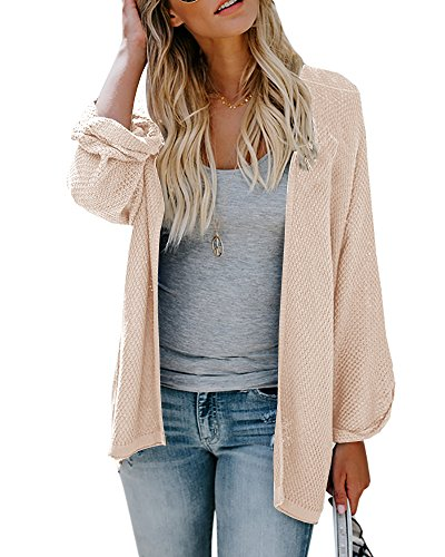 Bigyonger Women Kimono Cardigan Knitwear Bell Sleeve Slim Fit Draped Open Front Coat Sweater Beige