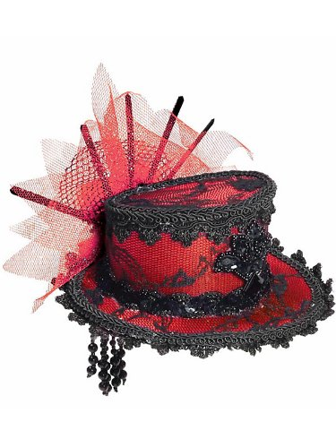 Forum Novelties Women's Costume Black Lace Mini Hat, Red/Black, One Size (Forum Lace Costume)