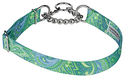 10 - Country Brook Design Green Paisley Half Check Dog Collars - Large