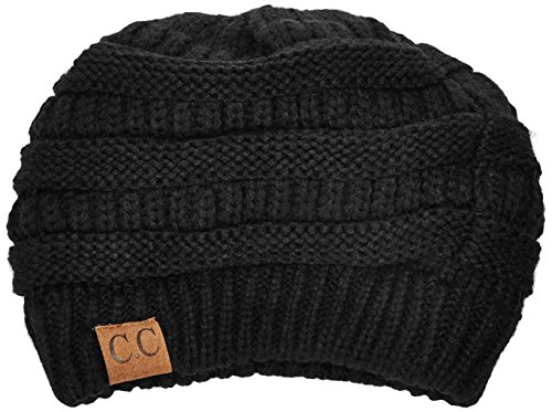 FUNKY JUNQUE's CC Solid Ribbed Beanie – Soft Stretch Cable Knit - Warm Skull Cap