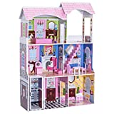 "Costzon 46"" Dollhouse, 3 Levels House with Furniture Gliding Elevator Rooms, Pink"
