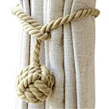 Cheap EleCharm 1Pair American Hand Knitting Curtain Rope Rural Cotton Rope Tie Band (Camel)