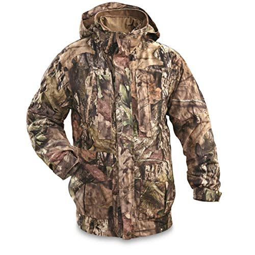 (Guide Gear Steadfast 4-in-1 Hunting Parka, 150 Gram Thinsulate Platinum with X-Static, Waterproof, Mossy Oak Break-Up Country, XL)