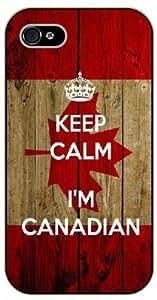 iPhone 5 / 5s Keep calm I'm canadian, Canada flag - black plastic case / Keep calm