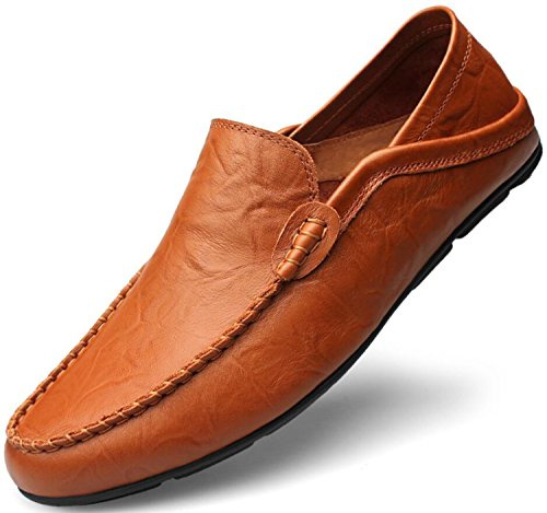 Go Tour Men's Premium Genuine Leather Casual Slip On Loafers Breathable Driving Shoes Fashion Slipper Brown 41