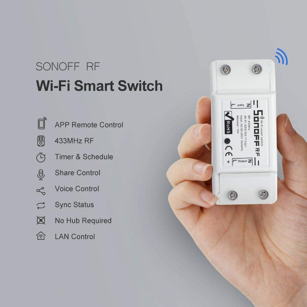 SONOFF Basic RFR2 Interrupteur Connect/é WiFi avec RM433 RF T/él/écommandes 433.92Mhz,Compatible avec Alexa//Google Home//Nest//IFTTT,Contr/ôle /à Distance,Commande Vocale,Fonction de Temps,Aucun Hub Requis