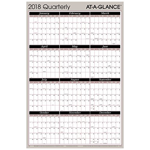 amazoncom at a glance quarterly wall planner january 2018 december 2018 36 x 24 vertical horizontal erasable reversible red black a123