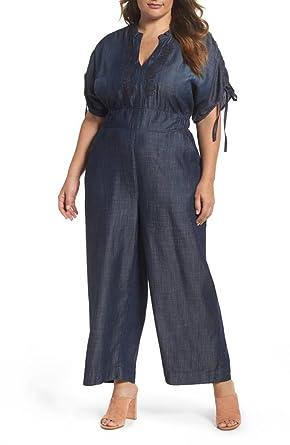 2e8bcbe33af Melissa McCarthy Seven7 Women s Plus Size Gaucho Leg Embroidered Jumpsuit