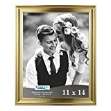 Icona Bay 11x14 Picture Frame (11 x 14, 1 Pack, Gold) Photo Frame, Wall Mount Hangers Deluxe Velvet Backing, Landscape as 14x11 Picture Frame or Portrait as 11x14, Elegante Collection