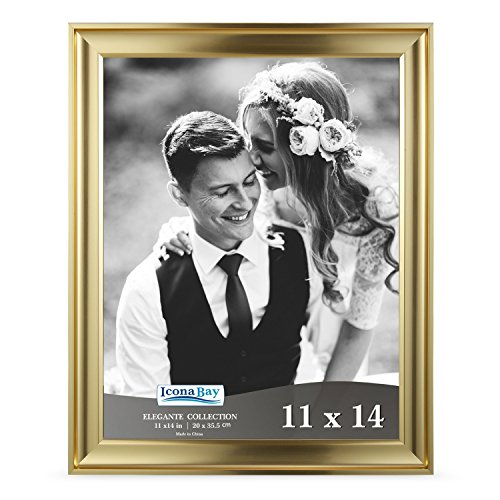 Icona Bay 11x14 Picture Frame (1 Pack, Gold), Gold Photo Frame 11 x 14, Wall Mount or Table Top, Set of 1 Elegante Collection ()