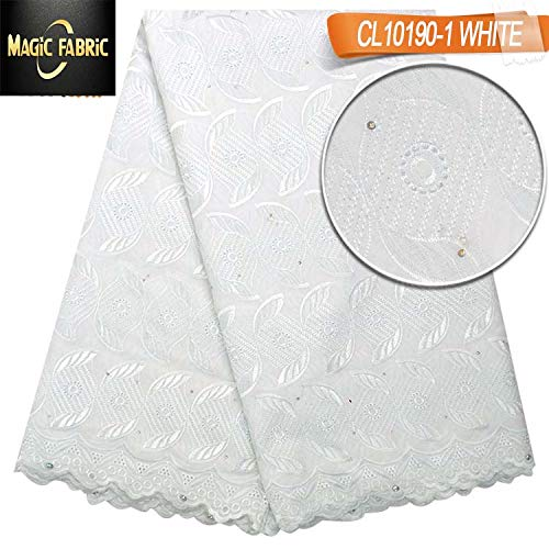 Laliva Swiss Voile lace Cotton Fabric African Lace Fabric with Stones for Dress Wedding CL10190 - (Color: Yellow) by Laliva (Image #2)