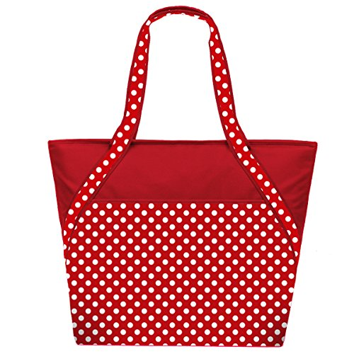 super-sachi-hot-cold-50-can-insulated-cooler-picnic-lunch-tote-bag-red-polka-dot