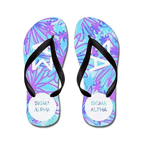 Cafepress Sigma Alpha Purple Floral - Flip Flops, Grappige String Sandalen, Strand Sandalen Zwart