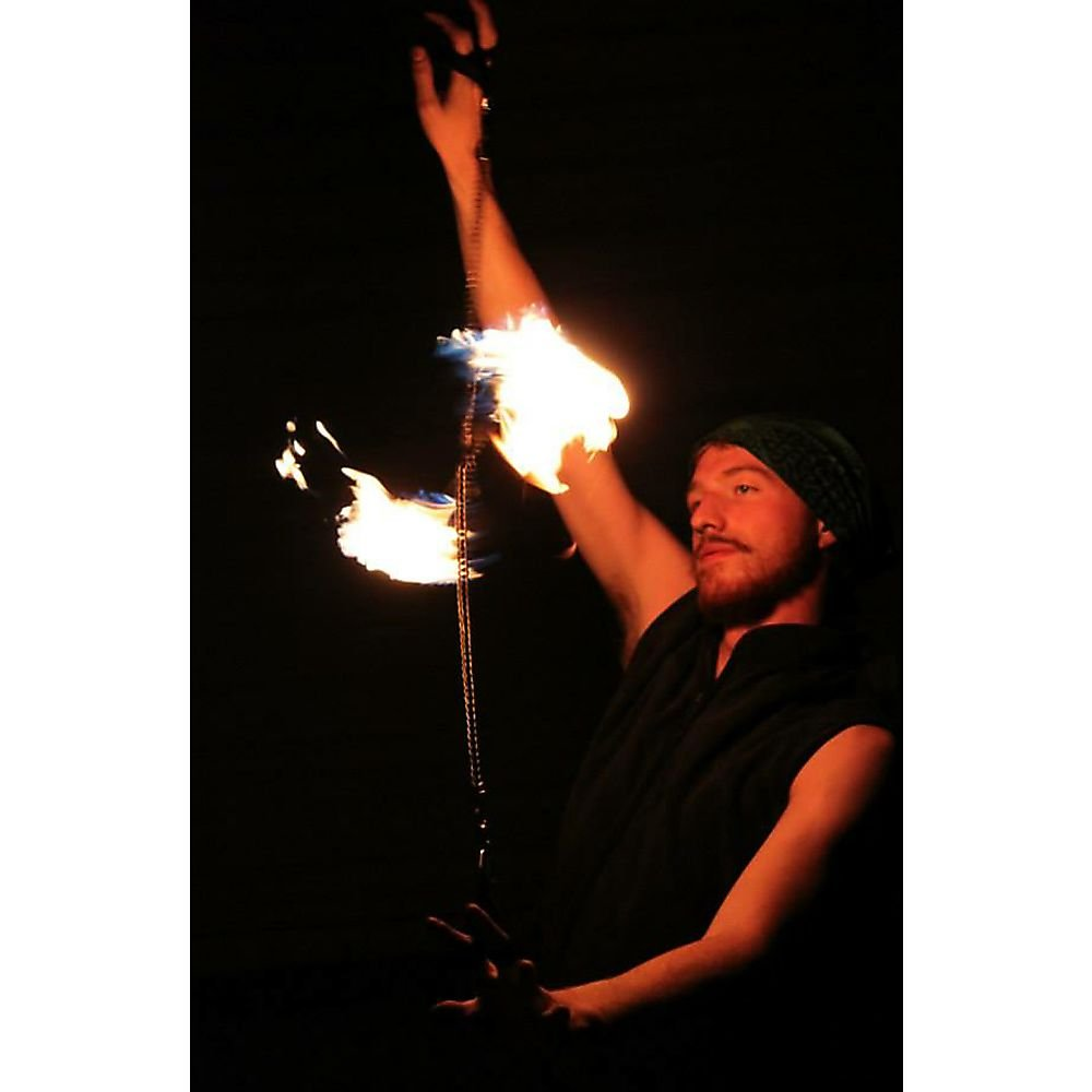 Pair of Pro Chain Block Fire Poi Large - Silver Chain, M - 26 inch (66cm) by Home of Poi (Image #2)