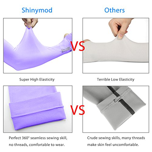 SHINYMOD UV Protection Cooling Arm Sleeves for Men Women Sunblock Cooler Protective Sports Running Golf Cycling Basketball Driving Fishing Long Arm Cover Sleeves (1 Pair Black) by SHINYMOD (Image #6)