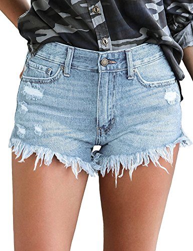 luvamia Women's Mid Rise Shorts Frayed Raw Hem Ripped Denim Jean Shorts Light Blue, Size L