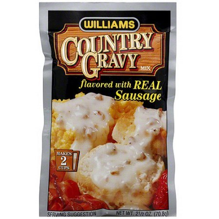 Williams Country Gravy Mix Flavored With Real Sausage 2.5 oz (Pack of 12)