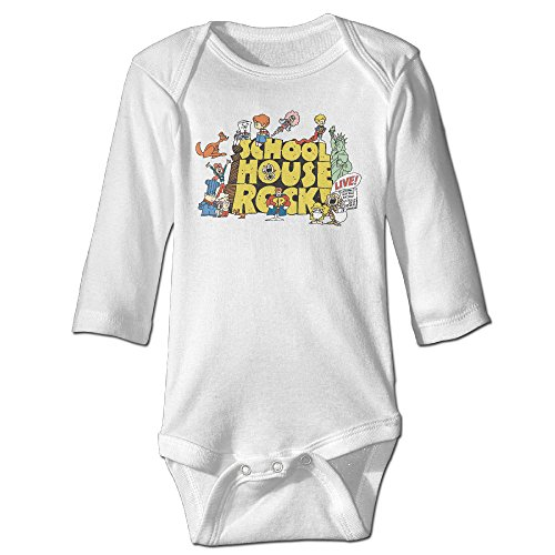 Baby Infants 100% Cotton Long Sleeve Onesies Toddler Bodysuit School House Rock Variety Onesies White Size 12 Months ()