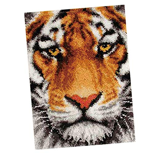 - Prettyia Latch Hook Rug Kits Carpet Tapestry Cushion DIY Needlework Crocheting Embroidery Kit 30 by 22 Inch - Tiger