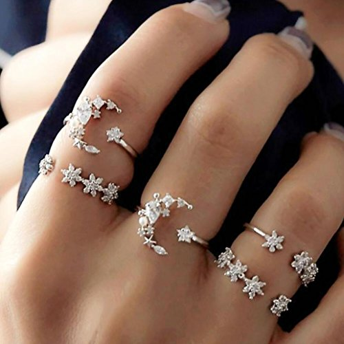 Stackable Rings for Teen Girls Jiayit 5pcs Stack RingsFlower Rhinestone Joint Rings Knuckle Nail Ring Set ()