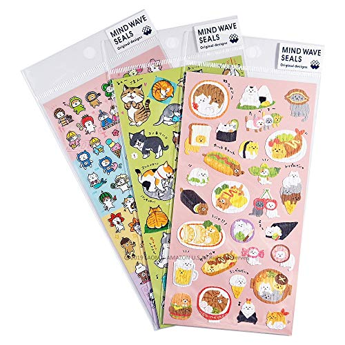 Mind Wave Japanese Washi Clear Cats Stickers Sheets/Pack of 3 [ 78282/78283 / 78338 ]