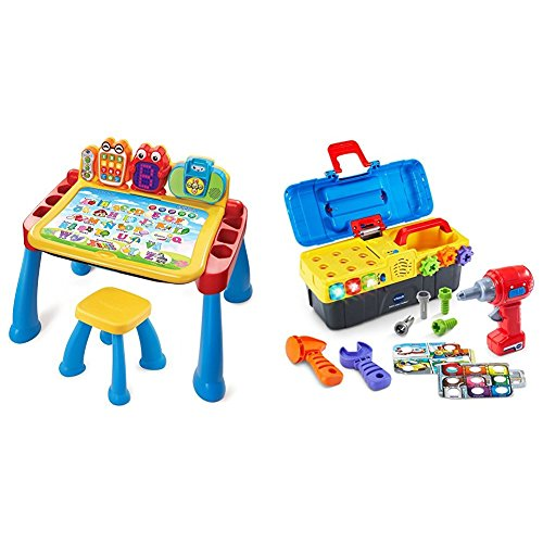 VTech Touch and Learn Activity Desk Deluxe with VTech Drill and Learn Toolbox Bundle