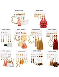 63 Pairs Colorful Earrings with Tassel Earrings Layered Ball Dangle Hoop Stud Jacket Earrings for Women Girls Jewelry Fashion and Valentine Birthday Party Gift