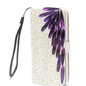 Wing Purple Luxury Bling Cute Lovely Fashion Diamonds Leather Deluxe Crystal Wallet Flip Lanyard Bag Case Cover For HTC One SV T528T LTE