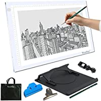 Yaufey A3 Light Box LED Artist Stencil Board Tattoo Drawing Tracing Table Display Light Box Pad (A3 DC) , 10 Levels