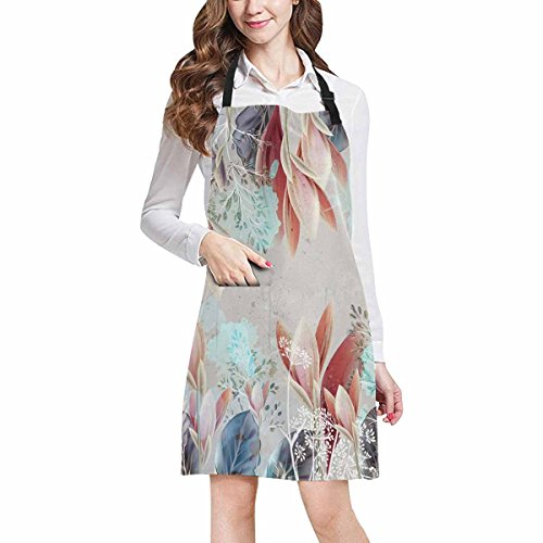 InterestPrint Beautiful Realistic Spring Flowers Pastel Pink Floral Home Kitchen Apron for Women Men with Pockets, Unisex Adjustable Bib Apron for Cooking Baking Gardening, Large Size