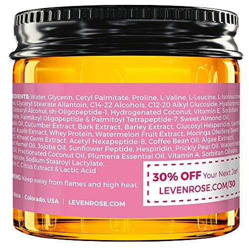 51i1JYmuKNL - Coffee Eye Lift Cream by Leven Rose 100% Natural, Reduces Puffiness, Brightens Tired Eyes & Dark Circles, Anti Aging, Firming, Collagen Building, Deep Hydrating Wrinkle Creme 1 oz