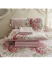 FADFAY Rose Floral 4 Piece Bed Sheet Set 100% Cotton Deep Pocket