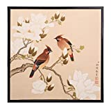 INK WASH Asian Watercolor Antique Colored Ink Traditional Chinese Magnolia Denudata Floral Wall Art Birds and Flower Paintings for Living Feng Shui 2017 Stand for Health Happy Life & Wealth 19''x20''