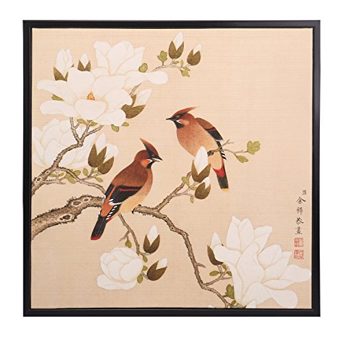 INK WASH Asian Watercolor Antique Colored Ink Traditional Chinese Magnolia Denudata Floral Wall Art Birds and Flower Paintings for Living Feng Shui 2017 Stand for Health Happy Life & Wealth 19''x20'' by INKWASH