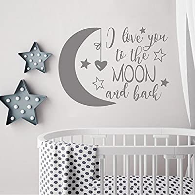 """BATTOO I Love You to The Moon and Back- Moon and Stars Wall Sticker Baby Nursery Wall Decor - Kids Room Wall Decal Quotes - Baby Crib Wall Decor(Dark Gray, 16""""WX11.5""""H): Baby"""