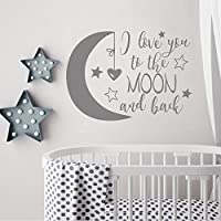 """BATTOO I Love You To The Moon and Back- Moon and Stars Wall Sticker Baby Nursery Wall Decor - Kids Room Wall Decal Quotes - Baby Crib Wall Decor 16""""WX11.5""""H Grey LA999-02"""