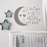 BATTOO I Love You to the Moon and Back Wall Decal Quote with Moon and Stars- Vinyl Lettering Wall Words Decal Baby Nursery Decor(dark gray, 40''WX29''H)