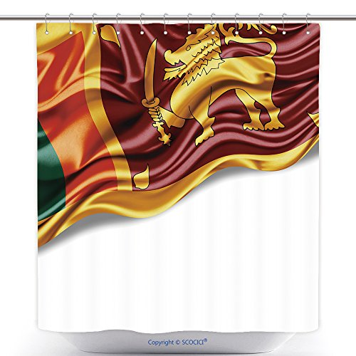 vanfan-Cool Shower Curtains Sri Lanka Flag Silk Copyspace Your Text Images White Background Polyester Bathroom Shower Curtain Set Hooks(54 x 78 inches)