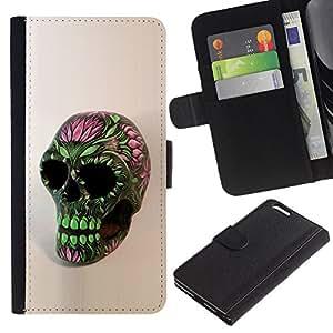 Planetar® Modelo colorido cuero carpeta tirón caso cubierta piel Holster Funda protección Para Apple (5.5 inches!!!) iPhone 6+ Plus ( Skull Floral Spring Green Pink Death )