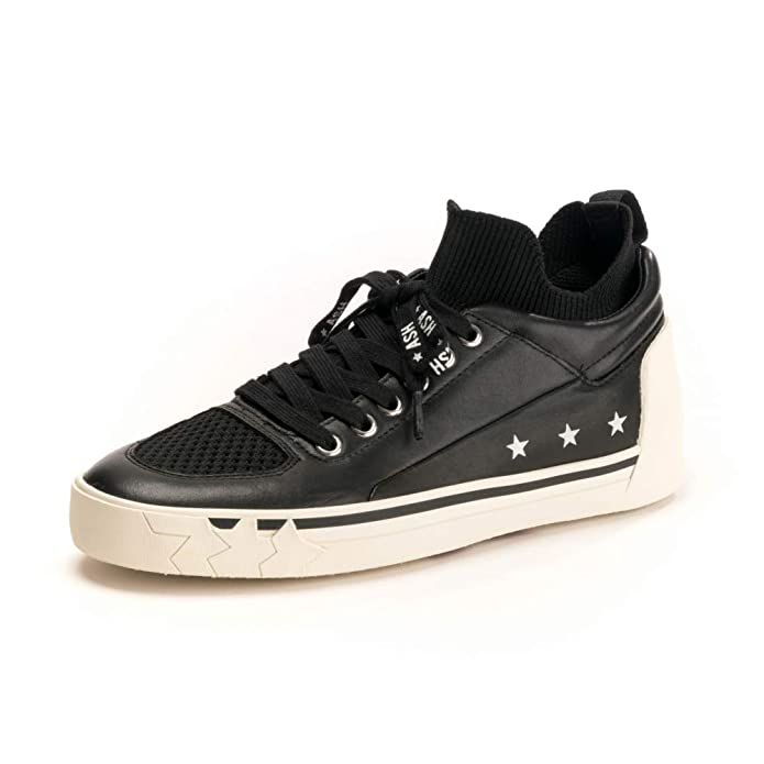 c7f1d679258 Ash Nippy Black Leather   Knit Trainers 40 Black Fabric  Amazon.co.uk  Shoes    Bags