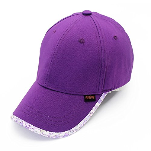 Ruiyue Baseball Cap, Spring sun shade pure cotton sunscreen leisure sports girl boy outdoor hat gorras mujer plisada visera (Color : Purple)