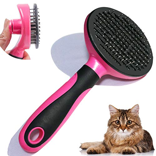 Cat Brush for Grooming, Dog Pin Shedding Grooming Tool for Cat and Small Medium Dog, Self Cleaning Pin Brush(Pink)