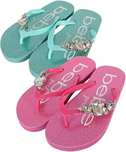Aqua Sandals Girls (bebe Girls 2 Pack Flip Flop Rhinestone Glitter EVA Sandals, Fuchsia/Aqua, 13 M US Little Kid')