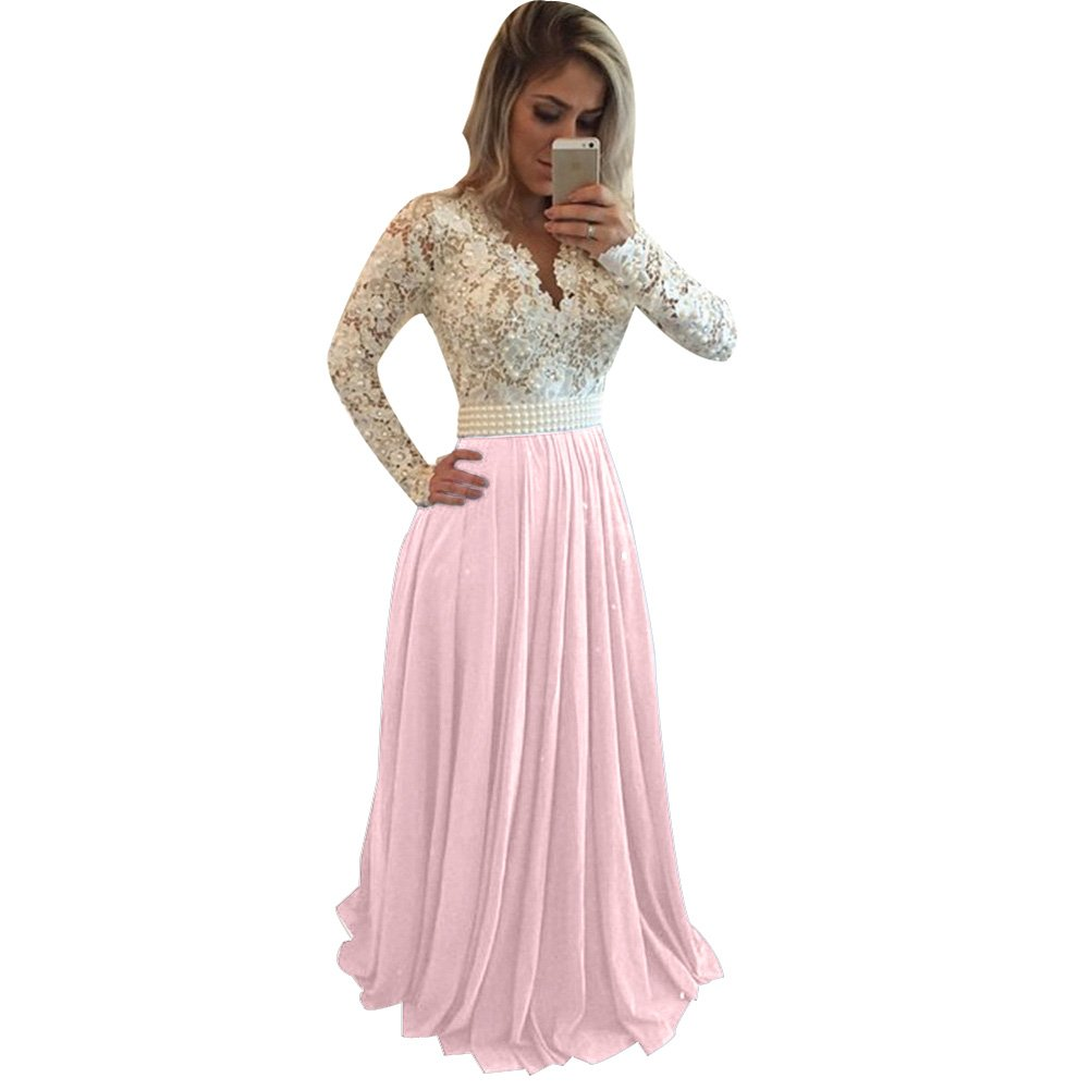 White+pink LISA.MOON Women's V Neck Long Sleeves Back Hole Lace Applique Pearl Evening Gown