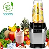 Smoothie Blender, Personal Blender, Blender For Shakes And Smoothies, Stainless Steel Juicer Blender Electric, Professional-Grade Power,High-Speed Blender For Baby Food With 1000W, BPA Free,FDA, Recipes Including (sliver)