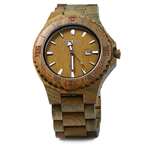 Bewell Zs W023b Wooden Quartz Watch For Men Date Display Luminous Pointers Verawood