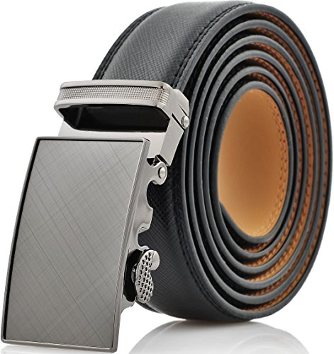 Marino Men's Genuine Leather Ratchet Dress Belt With Automatic Buckle, Enclosed in an Elegant Gift Box - Gunblack Silver - Adjustable from 38