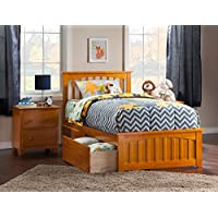 Mission Bed with Matching Foot Board and Urban Bed Drawers, Twin XL, Caramel Latte
