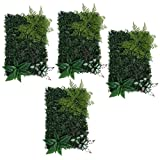Jili Online 4Pieces Artificial Hedge Outdoor Artificial Plants Fern Leaves Grass Home Garden Yard Fence Hedge Greenery Wall Panels